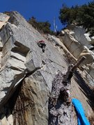 This is the Kachemak Crack formation and Randy is on the climb Kachemak Crack, the Unknown 5.10+ is on his right.