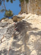 Rock Climbing Photo: Tator at the anchors.  Walking On Sunshine, Attitu...