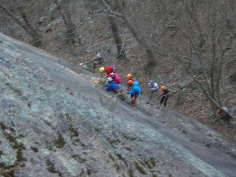 A group practicing guide-client rescue on the first pitch of Thin Air, on Sunday 4/28/13. (Sorry for the blurry picture, it's 5 guides on anchor, and 2 guides playing tired/exhausted 'clients' on rope below)<br> Not the time or the place?