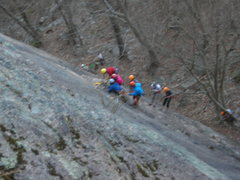 Rock Climbing Photo: A group practicing guide-client rescue on the firs...
