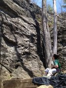 Rock Climbing Photo: Kristen TR. Look for the bolts just left of the tw...
