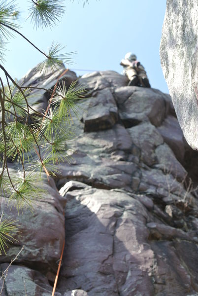 Rock Climbing Photo: Steve Z. out of focus and past the cux of Mindless...