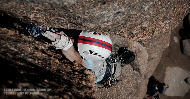 "Rock Climbing Photo: Eddie going strong about halfway up ""Gobble U..."