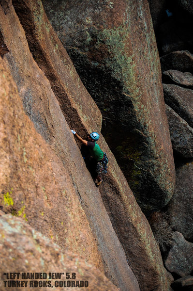 "Unknown climber cruising ""Left Handed Jew"". Turkey Rocks, Colorado."