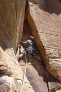 Rock Climbing Photo: AMH at base of pitch 5, after the traverse. Note t...