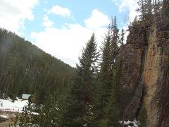 Rock Climbing Photo: Mike Cronin enjoys roadside climbing at its finest...