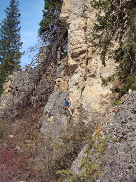 Mike Cronin gets ready for a Glacial Facial, 5.11a<br> <br> Ice Box, Spearfish Canyon.