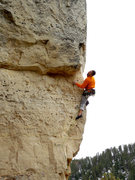Rock Climbing Photo: Searching for holds around the arete.