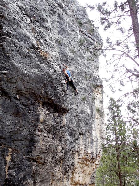 Rock Climbing Photo: Finding a spot to chalk up can be a little tough.