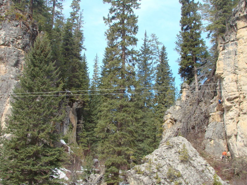 Mike Cronin enjoys Glacial Facial, 5.11a.<br> <br> One of the newest classic climbs at Spearfish Canyon's oldest crag.<br> <br> Ice Box Rocks!