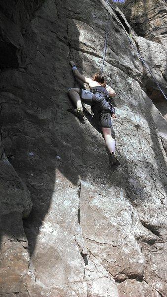 Rock Climbing Photo: Rah H. on TR, nearing the crux.