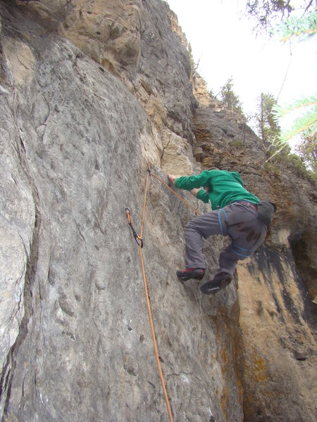 Austin grabs the classic opening bucket on Black Ice, 5.10c.<br> <br> Ice Box, Spearfish Canyon.