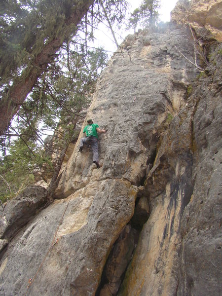 Austin gets down with Whore Frost, 5.12a.<br> <br> Ice Box, Spearfish Canyon.