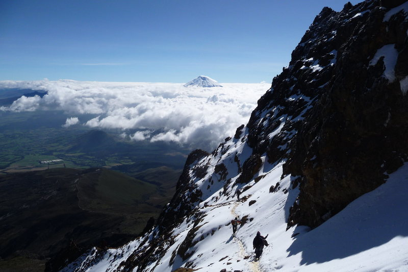 Illiniza Norte w/ summit of Cotopaxi breaking the clouds