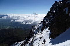 Rock Climbing Photo: Illiniza Norte w/ summit of Cotopaxi breaking the ...