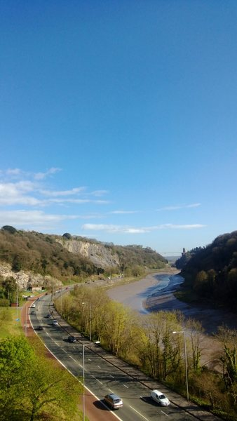 The view down Avon gorge from the ramp. Idyllic, if it weren't for the road!