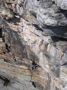 Rock Climbing Photo: Annie coming up the first pitch of Hans Puss. Inti...