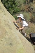 Rock Climbing Photo: Sara Susca on the thin bit before the better hold ...