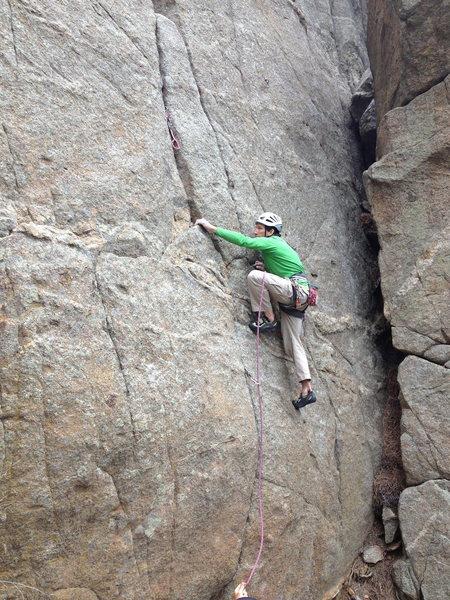 Rock Climbing Photo: Clearing the opening bulge.