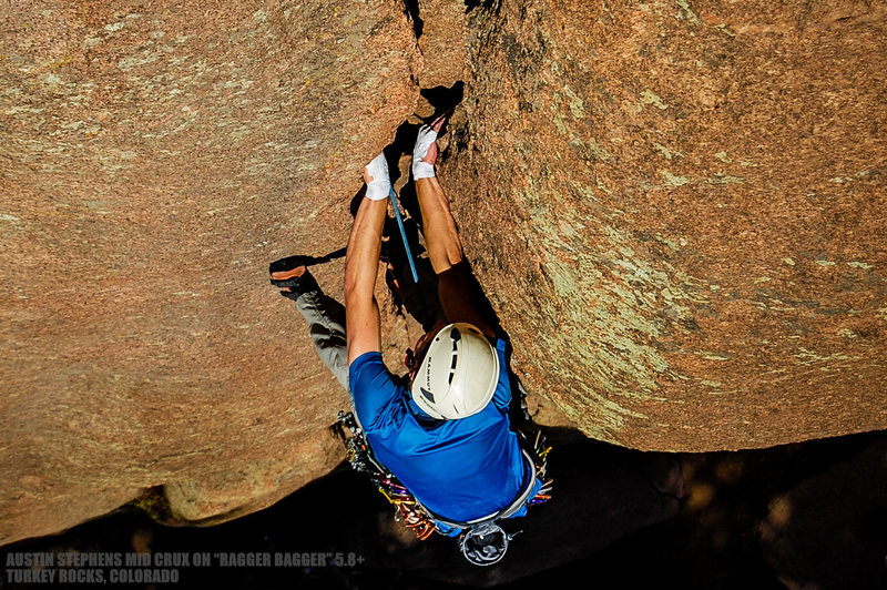 "Rock Climbing Photo: Austin pushing through the crux on ""Ragger Ba..."