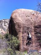 Rock Climbing Photo: Rhyan moving through the crux.