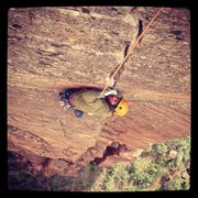 Rock Climbing Photo: Matt cleaning up the crux pitch on Shune's Buttres...