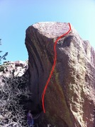 Rock Climbing Photo: Side shot of the project with (approximate) direct...