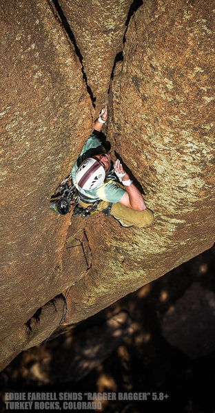 "Eddie Farrell climbs ""Ragger Bagger"". Turkey Rocks, Colorado."