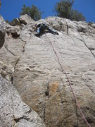 Rock Climbing Photo: Mark Roth ready to go above the last bolt, then tr...