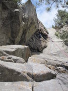 Rock Climbing Photo: The route. Stacy ready to attack the crux traversi...