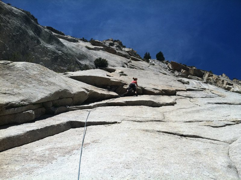 The High Life (5.8) start.  The Big Deal starts from the top anchors of this right trending flake system.