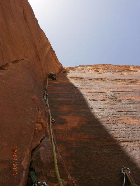 Rock Climbing Photo: Flight of Fancy, Jebel Rum, 6b