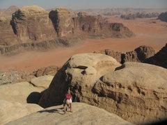 Rock Climbing Photo: The Pillar of Wisdom, Jebel Rum, summit, followed ...