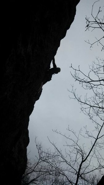 Rock Climbing Photo: Climbing in late April with passing snow flurries.