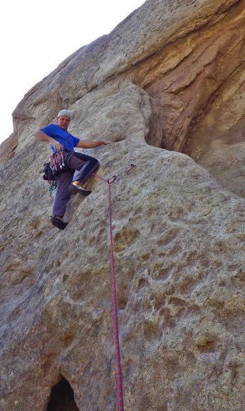 Starting up the arete of Overhanger