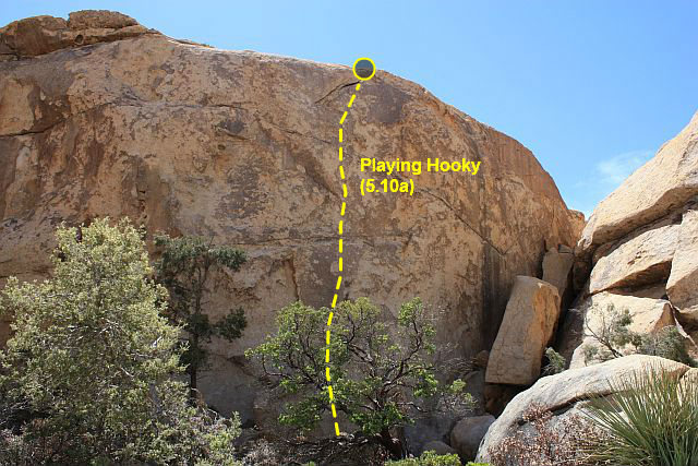 Rock Climbing Photo: Playing Hooky (5.10a), Joshua Tree NP