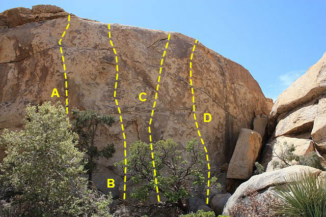 Photo/topo for Shady Grove Wall, Joshua Tree NP<br> <br> A. Return of the Chuckwalla (5.10c)<br> B. Swain-Buckey (5.10c)<br> C. Playing Hooky (5.10a)<br> D. Shady Grove (5.10b)
