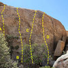 Photo/topo for Shady Grove Wall, Joshua Tree NP<br> <br> A. Return of the Chuckwalla (5.10c)<br> B. Swain-Buckey (5.10c)<br> C. Playing Hooky (5.10a)<br> D. Shady Grove (5.10b)