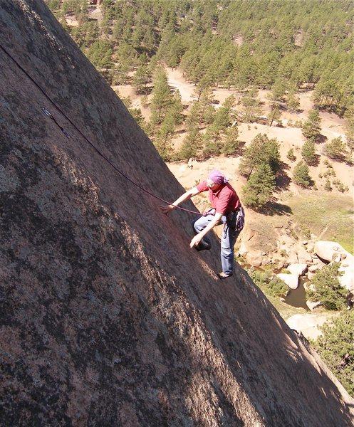Rock Climbing Photo: Sallie higher on Lickety Split.