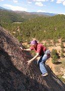 Rock Climbing Photo: Carefully smearing on friction.