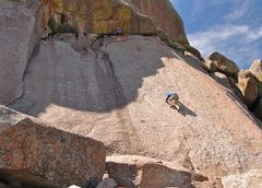 Rock Climbing Photo: Wall shot showing the belay at the top of the pitc...