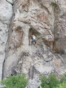 Rock Climbing Photo: Climber low on Colossus, with Private Idaho crack ...
