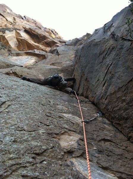 Rock Climbing Photo: Kyle heading up P1 of Sidewinder.