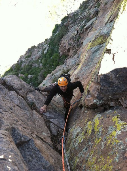 Rock Climbing Photo: Kyle just after finishing up the wide section on t...
