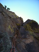 Rock Climbing Photo: Looking up P3 from the belay ledge.  The moves abo...