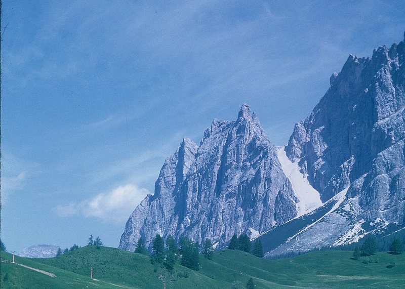 Rock Climbing Photo: Campanile Dimai is the sharp pointed summit just r...