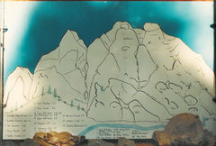 The original Guide reportedly drawn by Dennis Clark of Palmdale. Photo from 1987. This was up in a display at the ranger station when I arrived in 1983 and was taken down in 1988.