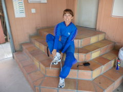 Rock Climbing Photo: Getting dressed for the 4th AFF skydive. The smile...