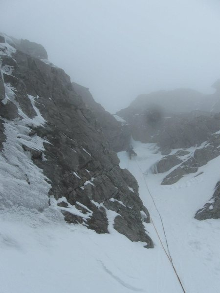 Rock Climbing Photo: The P4 ice bulge, with some cloud coming in.  Phot...