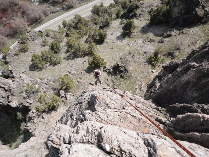 Rock Climbing Photo: Rapping down Mister Cruel in Mullein Land up Logan...